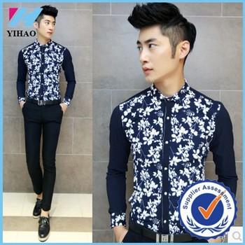 Yihao Fashion Men Chinese Vintage Shirt Pria Baju Yang Busana Keren
