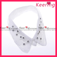 fashion keering white stand collar shirt rhinestone neckline patch for ladies WNL-1160