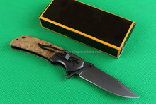 OEM us quality wooden handle pocket knife outdoor survival army knife