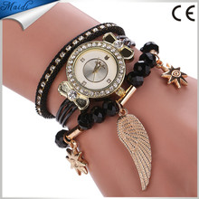 Ladie's Fashion Multilayer Bracelet Watch Women Three Circles Winding Leather Band Watch Girls Angel Wings Accessories WW104