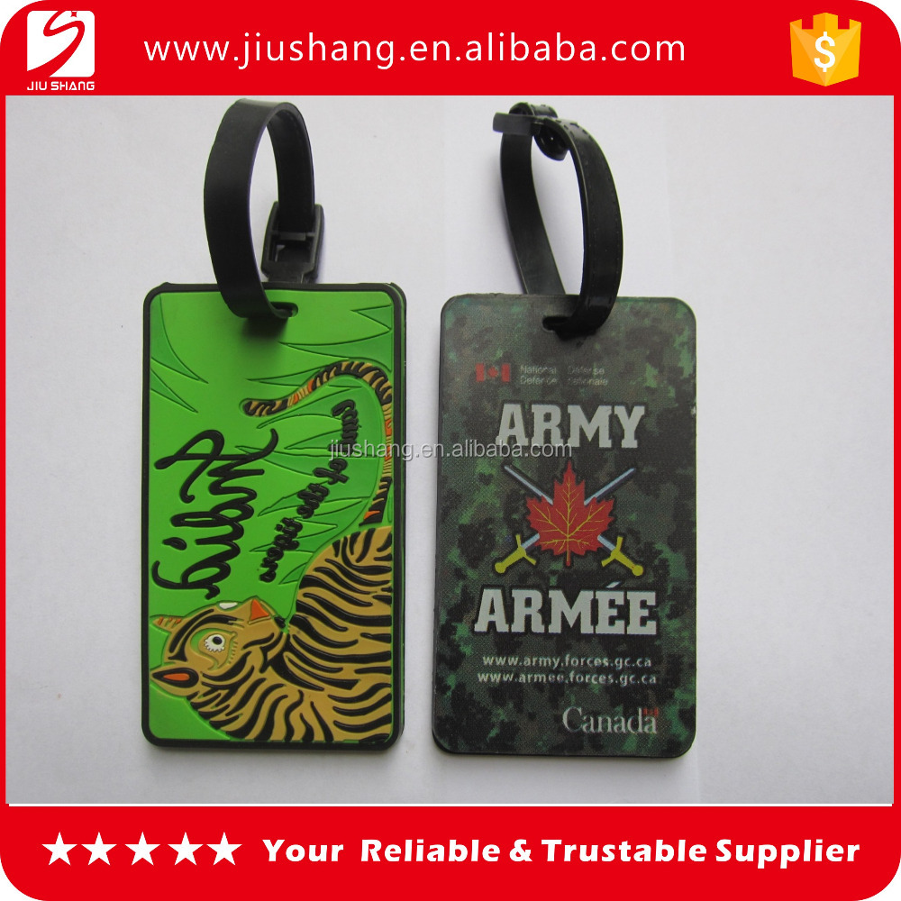 Personalized thick pvc travel baggage tag in cheap price