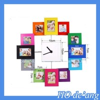 New 12 Multi Photo Aperture Frame Wall Clock Modern Family Picture COLLAGE Gift/wall clock with photo frame