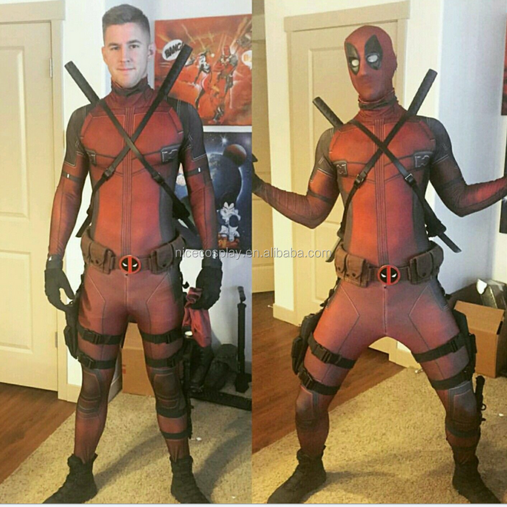Hot Movie 3D The Avengers Deadpool Cosplay Costumes Halloween Party Clothing Stock