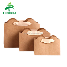china 2017 new creative high quality biodegradable mini small gift packing natural kraft paper bag brown with grossgrain handle