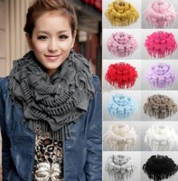 Winter Womens Knit Fringe Tassel Scarf Snood Neck Circle Wrap Warmer Cowl Shawl