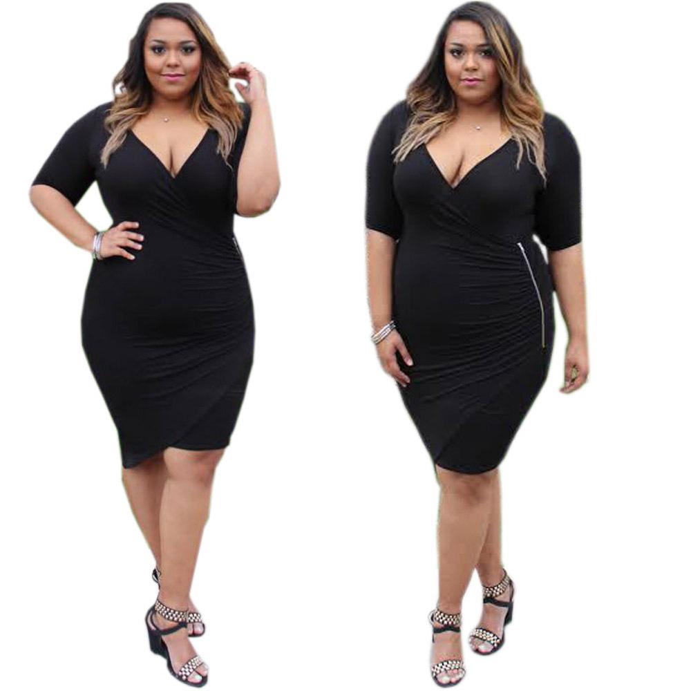 F20461a New Fashion Fat Women Dresses Deep V Neck Slim