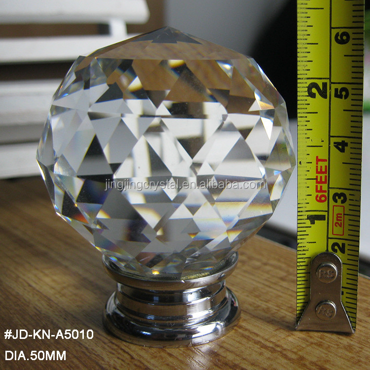 50mm Large Crystal Knob for Door and furniture in Living Room Zinc alloy <strong>hardware</strong>