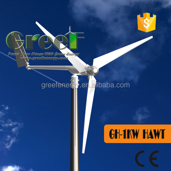 HOT ! roof mounted wind turbine1kw for home use off grid system ,24V 48V small horizontal axis wind turbine, low noise