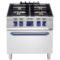 Stainless Steel Kitchen Appliance Industrial 4 burner Gas Cooker with Oven