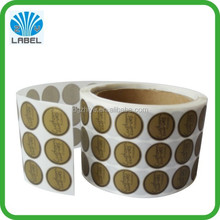 Fancy adhesive custom small round roll sticker printing, gold printing sticker roll, glossy logo sticker