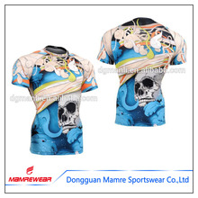 Sublimation Print Moisture Wicking Custom Compression tops shirts half sleeves