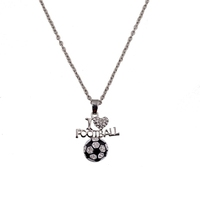 Sport I Love Football Crystal Rhinestone Pendant Necklace