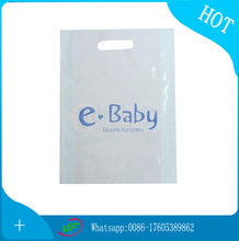 Hand Reinforced recycled disposable Plastic shopping Die Cut Bag With Printing Logo