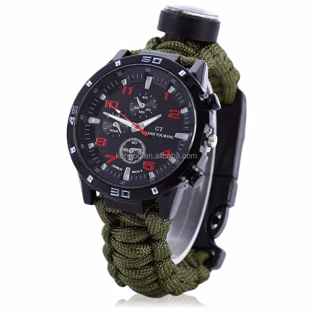 KongBo Survival Paracord Bracelet Watch 7-in-1 Rescue Kit