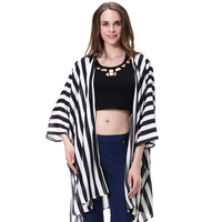 Office uniform designs for women pants and blouse Modern chiffon blouse Striped blouse white black