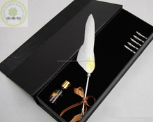 Handy Natural Ostrich Feather Quill Pen/Best Wedding Gift Feather Fountain Pen Set