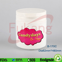 170cc HDPE wide mouth plastic chewing gum white bottle,cheap bulk price plastic color candy round jar&white tamper proof lid