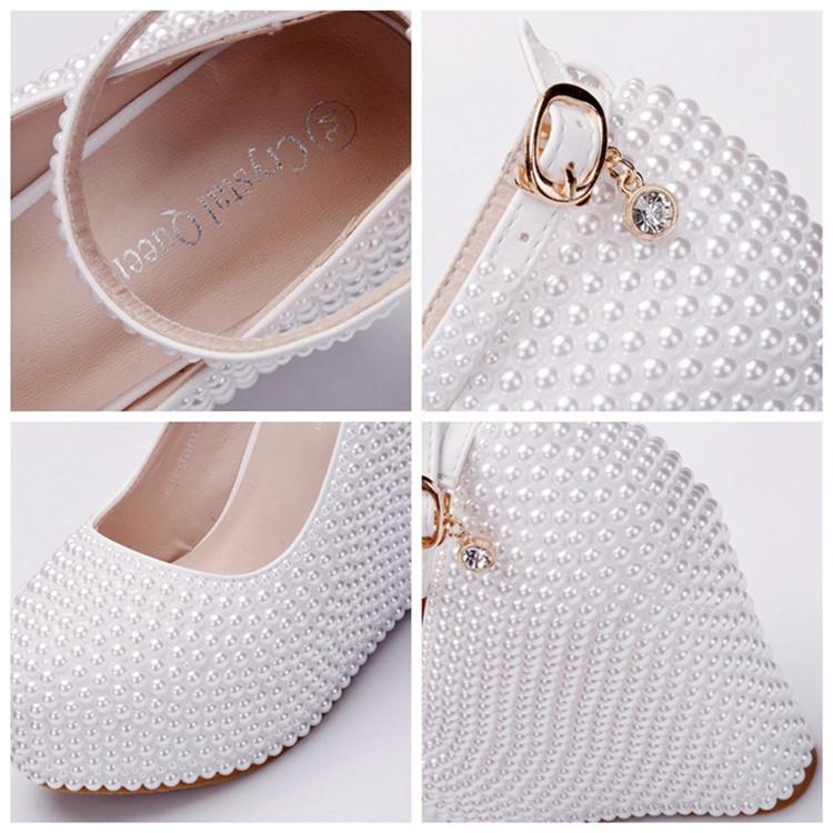 Custom Full Imitation Pearls Decoration Women's Wedges Shoes Matching Handbag Sets For Wedding Party