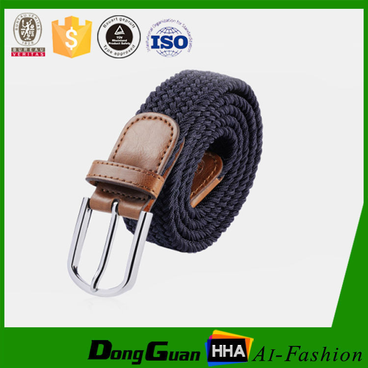 wholesale korean style casual Men Canvas Stretch Braided Elastic Belt