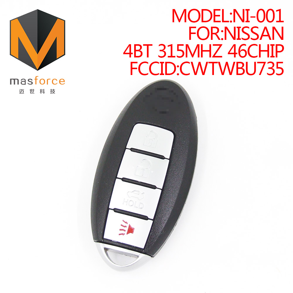 Remote control auto smart card car <strong>key</strong> for Nissan 4button 315MHz ID46 transponder chip FCCID:CWTWBU735
