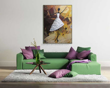 Euramerican style dance ballet abstract figures are a beautiful woman wearing a white skirt oil painting in canvas