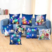 3D Digital Printed Cushion Cover LED Light Christmas Cushion Decorative Throw Pillow Cover