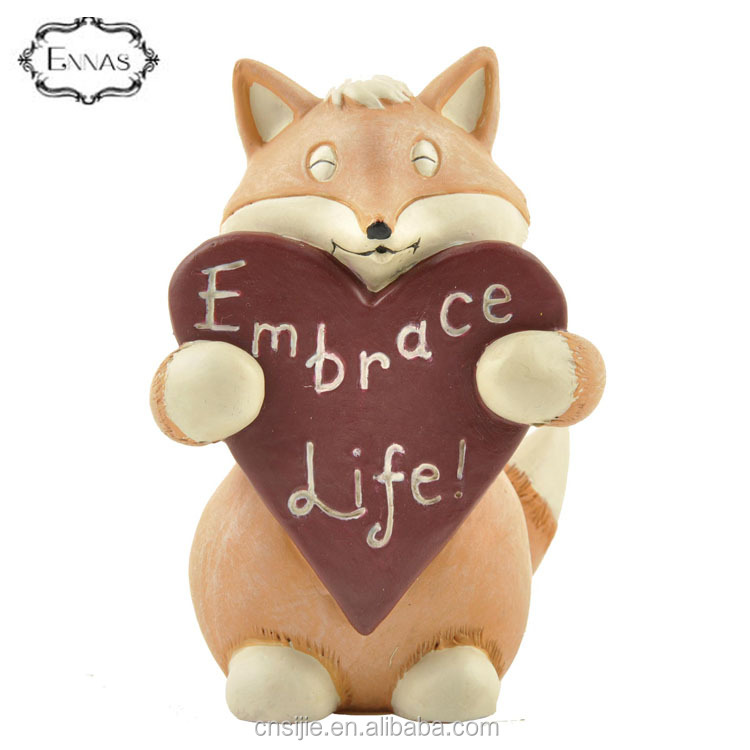 Cartoon resin fox animal statues home decoration