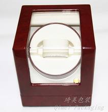 High glossy automatic lacquered custom handmade red wooden watch winder