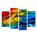 4 Pieces HD Printed Colorful Bird Feather Painting Modern Canvas Wall Art Home Wall Pictures for Living Room Home Gift/SJMT1917