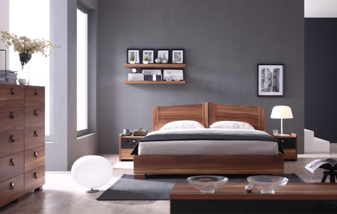2014 Comfortable and durable bedroom furniture was made from E1 solid chipboard with painting for bedroom