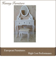 White Dressing Table Makeup Desk with Stool / 5 Drawers and Oval Mirror Bedroom / cheap Dressing Table with Stool (T009)