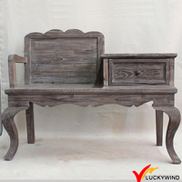 Country Style Sandblasted Wooden Antique Telephone Chair
