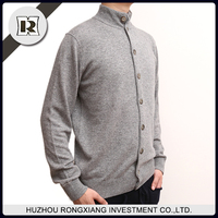 High quality Men's latest sweater designs grey high collar long sleeve cardigan