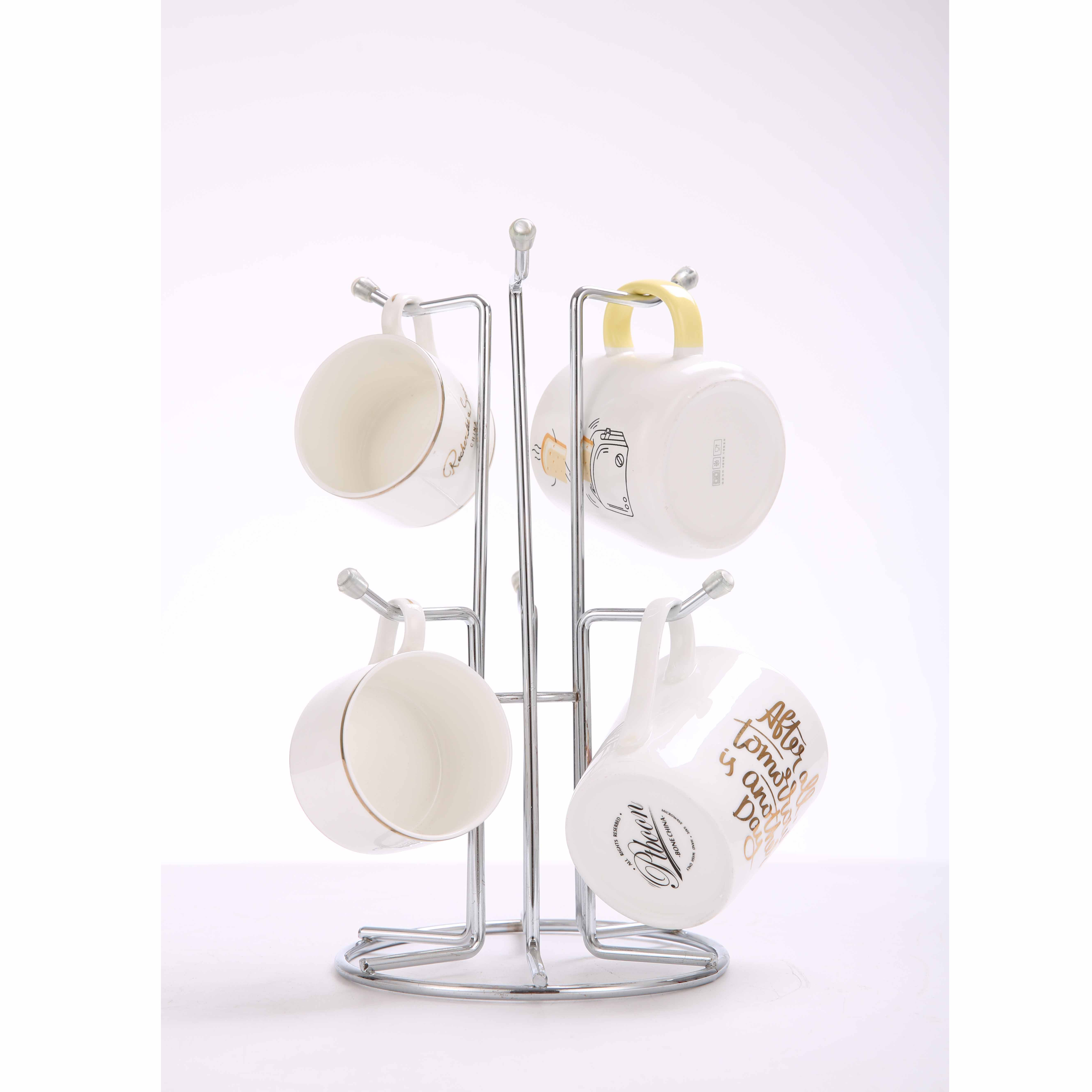 6 hook cup storage drying holder rack mugs hang holder rack
