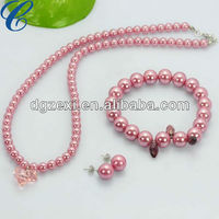 New fashion best jewelry sets Imitation pearl Girl kids jewelry set Necklace+Bracelet+earrings