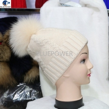 Fashion warmly good quality hat wool and rabbit fur blending knitted girl winter hat with real fox fur pom pom