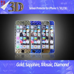 3D Gold Blue Sapphire DiamondUltra Clear Screen Protectors for Apple iPhone 5 / 5S / 5C