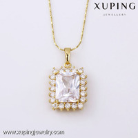 31390 -xuping fashion luxury 14k gold plated squrare big stone necklace pendant
