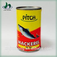 A grade salt canned 3 years shell life geisha mackerel fish in tomato sauce with high quality
