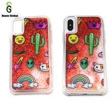 Free sample cartoon red moving glitter phone case for iphone x