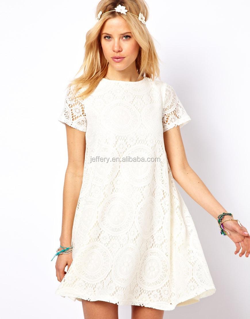 Wholesale Latest white lace net casual dress knee length designs ...