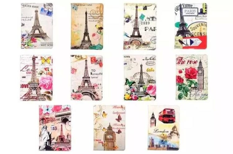 Hot selling Eiffel Tower Pattern Flip Leather Case for iPad Mini 4 , for iPad Mini4 case cover leather