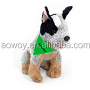 dog plush logo imprinted green bandage heeler bark plush dog toy bandana91