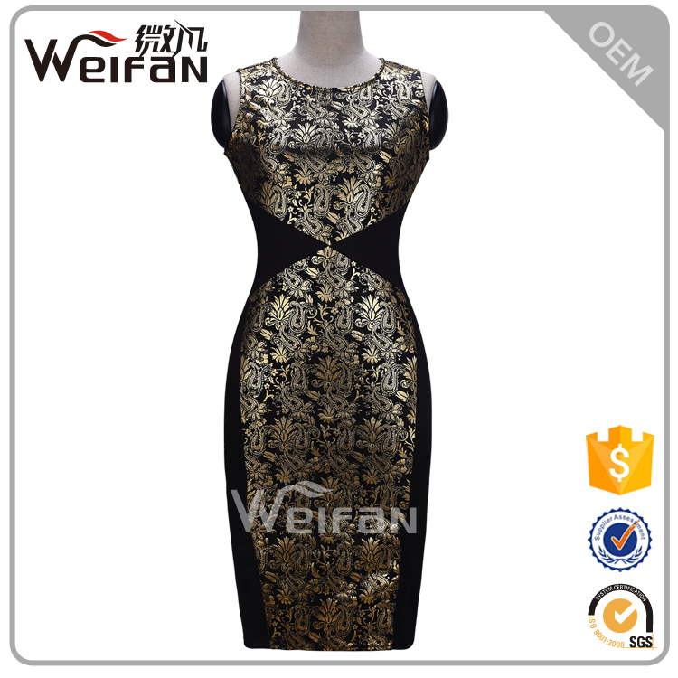 One Piece Short Bodycon Crew Collar Sleeveless Gold Flower Pictures Of Fashionable Women Wearing Ladies Cocktail Dresses