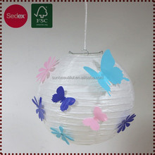 White hanging paper handmade lantern with butterfly