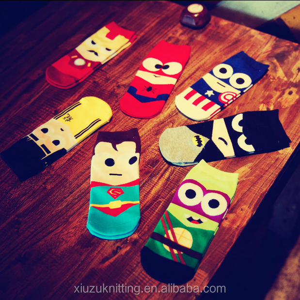 New Summer Funny Cute Cartoon Characters Face Patterned Superman Men Ankle Socks