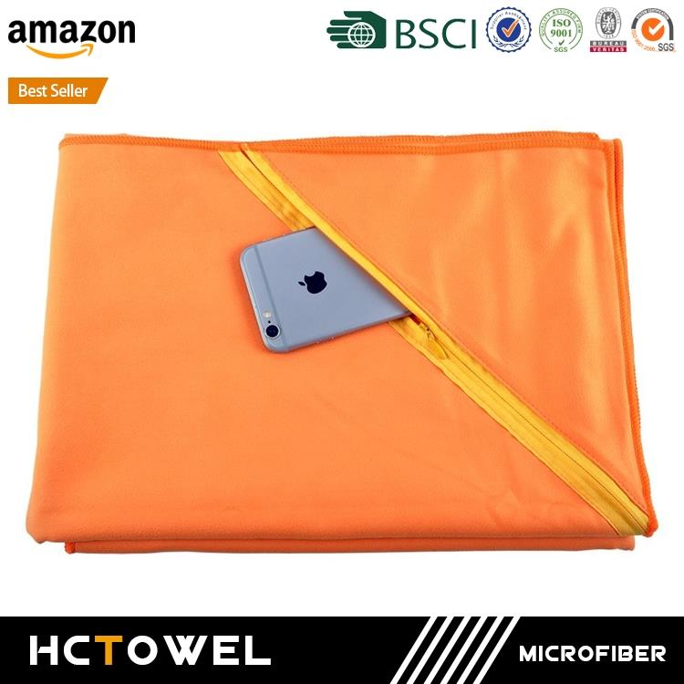 China Supplier Fast Drying Microfiber Gym Towel With Zipper Pocket