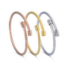 Trendy Silver Gold Rose Gold Twisted Open Cable Wire Bangles Bracelets For Women