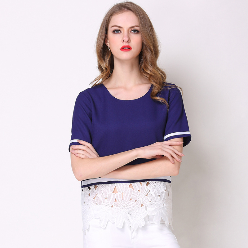 Europe and the United States women's 2018 summer new fashion wild round lace lace stitching short-sleeve T-shirt
