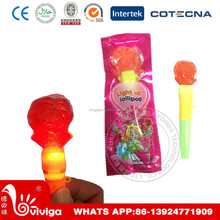 Rose shaped whistle lollipop with mini flash light for stick